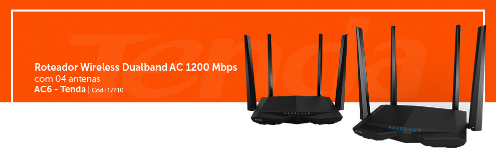 Roteador Inteligente Wireless 1167mbps Dual-Band AC6 Tenda Technology